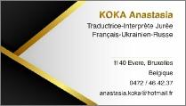 Anastasia Koka, sworn interpreter in English, French, Russian and Ukrainain in Brussels